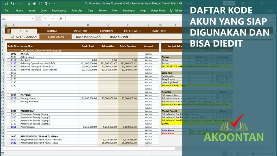 Kode Akun Excel Akuntansi Perusahaan Jasa