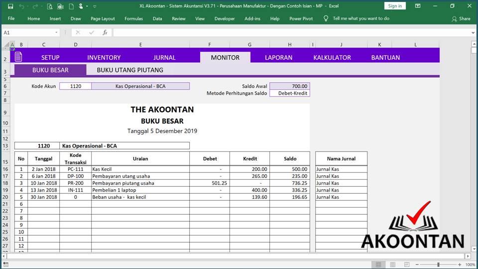 Akuntansi ID - Excel Akuntansi Manufaktur - Buku Besar