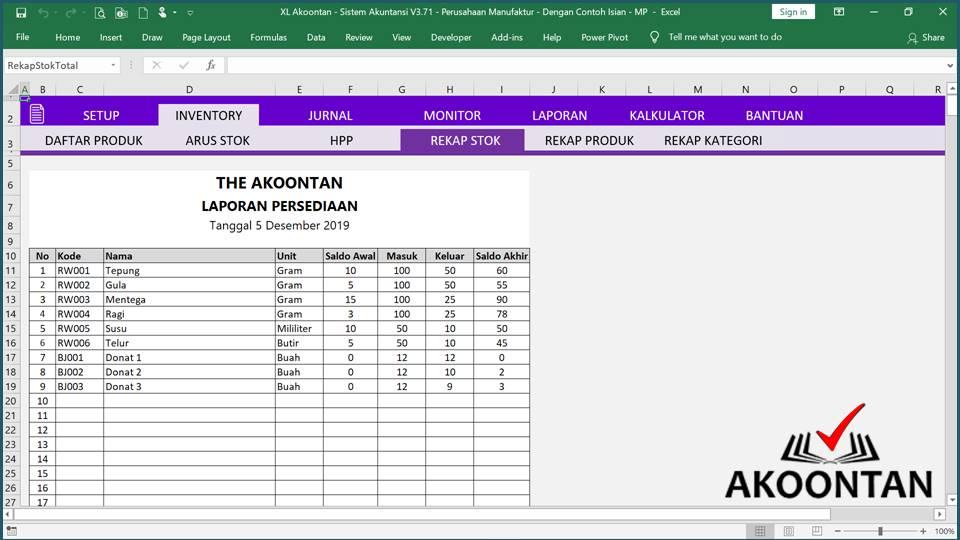 Akuntansi ID - Excel Akuntansi Manufaktur - Laporan Persediaan