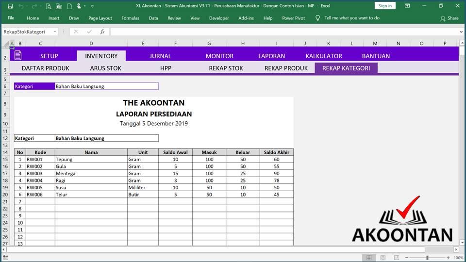 Akuntansi ID - Excel Akuntansi Manufaktur - Rekap Bahan Baku