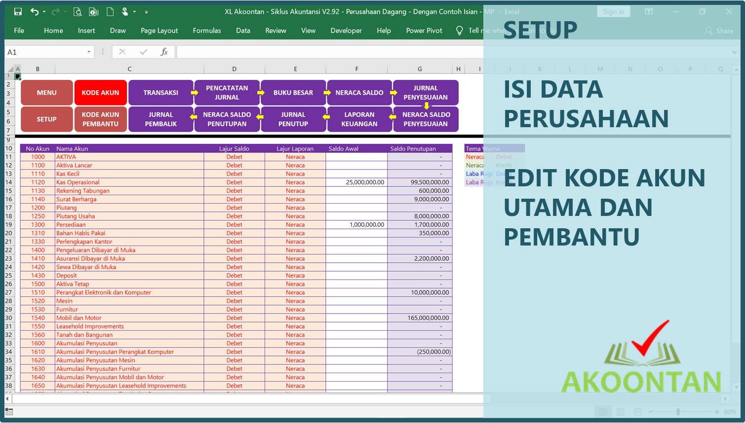 Akuntansi-ID - Excel Siklus Akuntansi - Kode Akun
