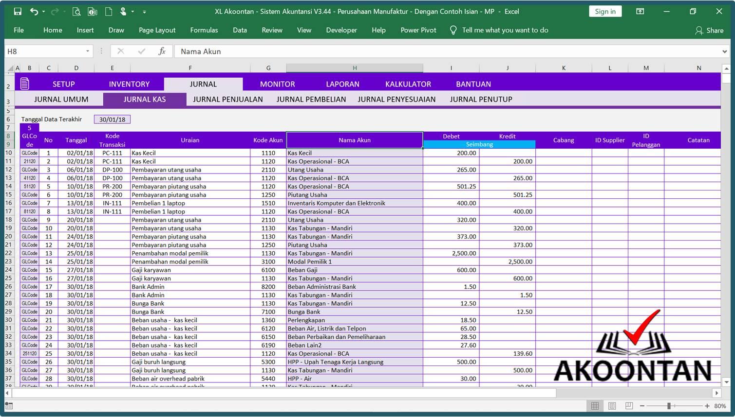 Akuntansi-ID - Excel Sistem Akuntansi Manufaktur - Jurnal