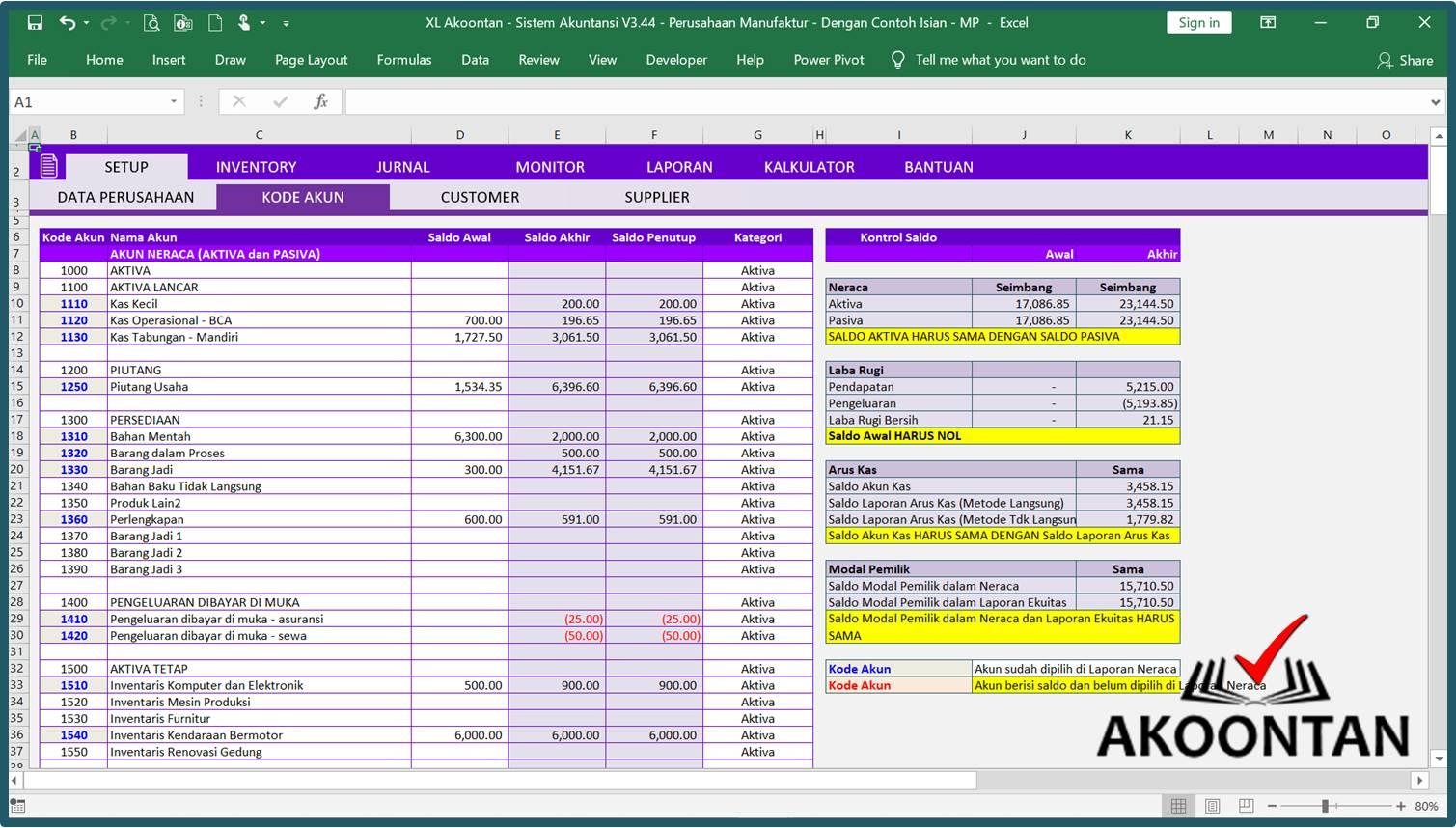 Akuntansi-ID - Excel Sistem Akuntansi Manufaktur - Kode Akun