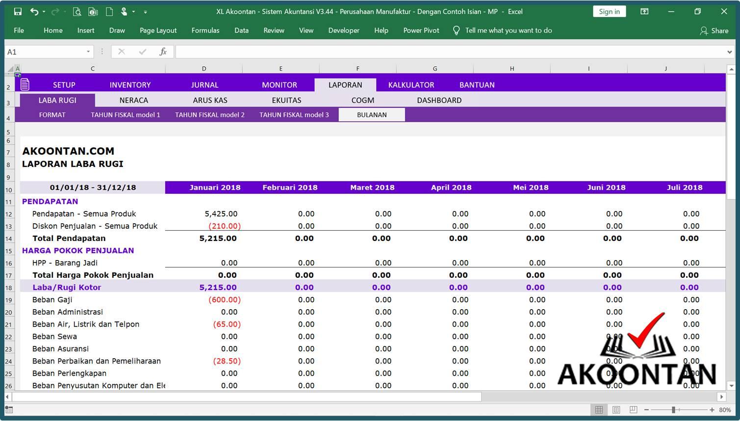Akuntansi-ID - Excel Sistem Akuntansi Manufaktur - Laporan Bulanan