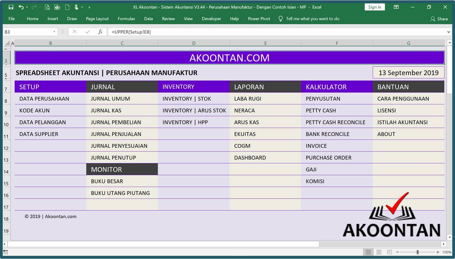 Akuntansi-ID - Excel Sistem Akuntansi Manufaktur - Menu