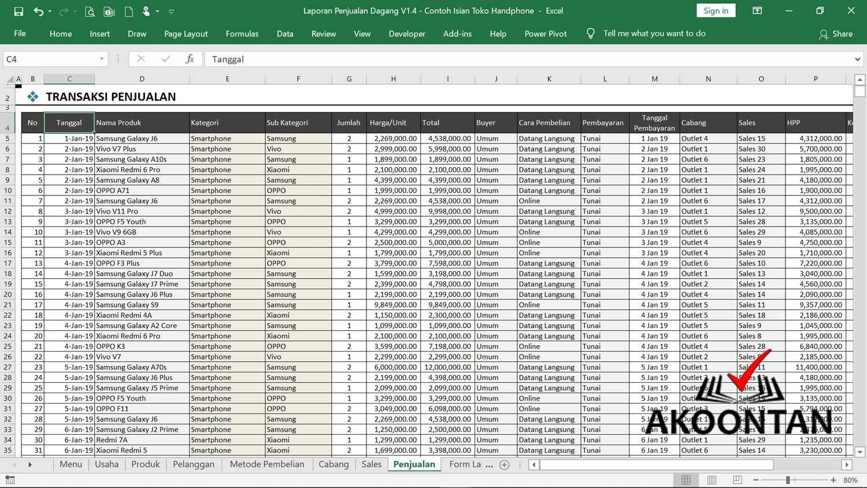Excel Laporan Penjualan - Lembar Penjualan