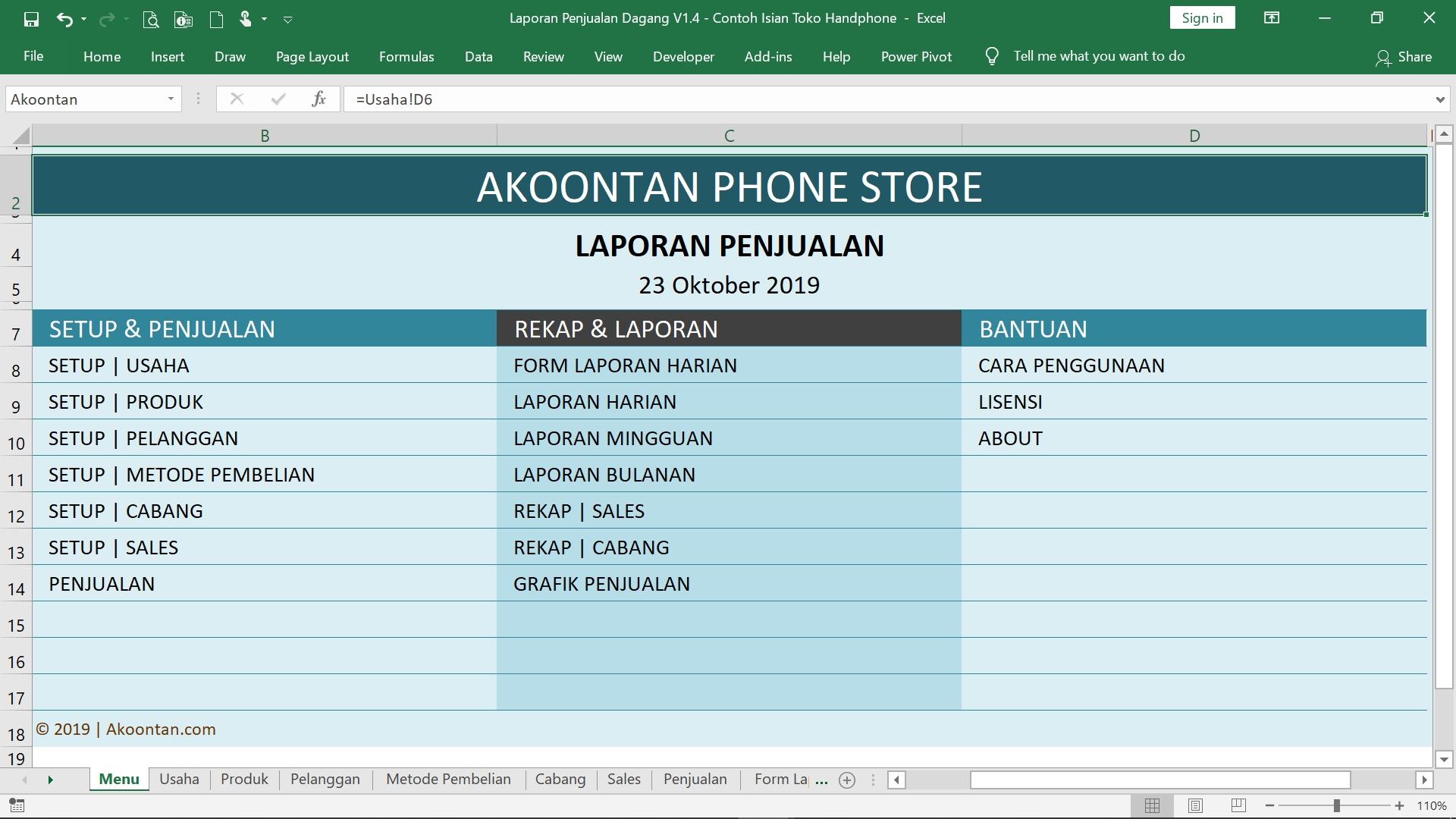 Excel Laporan Penjualan - Menu