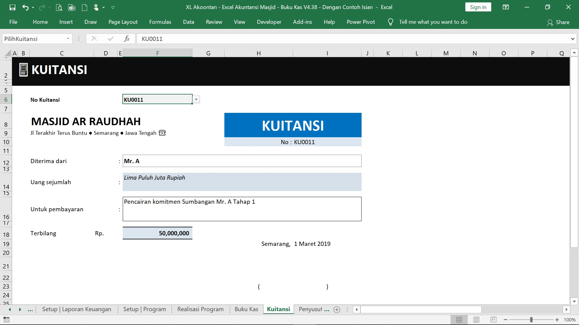 Akuntansi-ID - Excel Akuntansi Masjid - Bukti Kuitansi