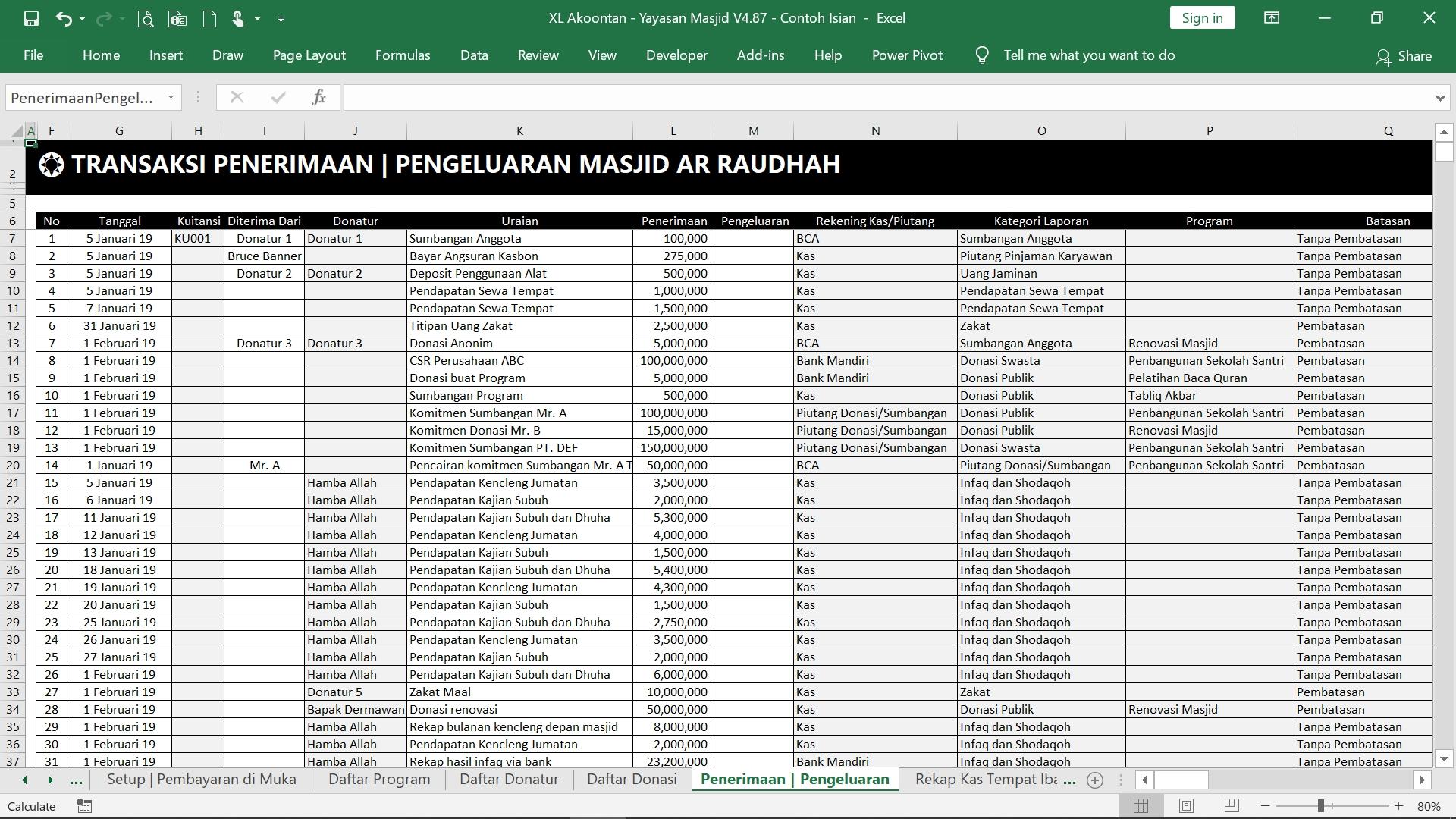 Akuntansi-ID - Excel Akuntansi Masjid - Transaksi Buku Kas