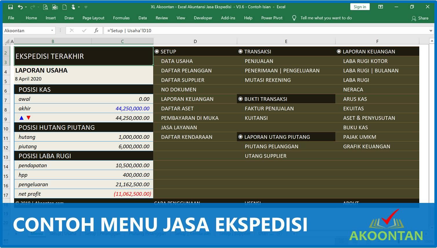Akuntansi-ID - Contoh menu