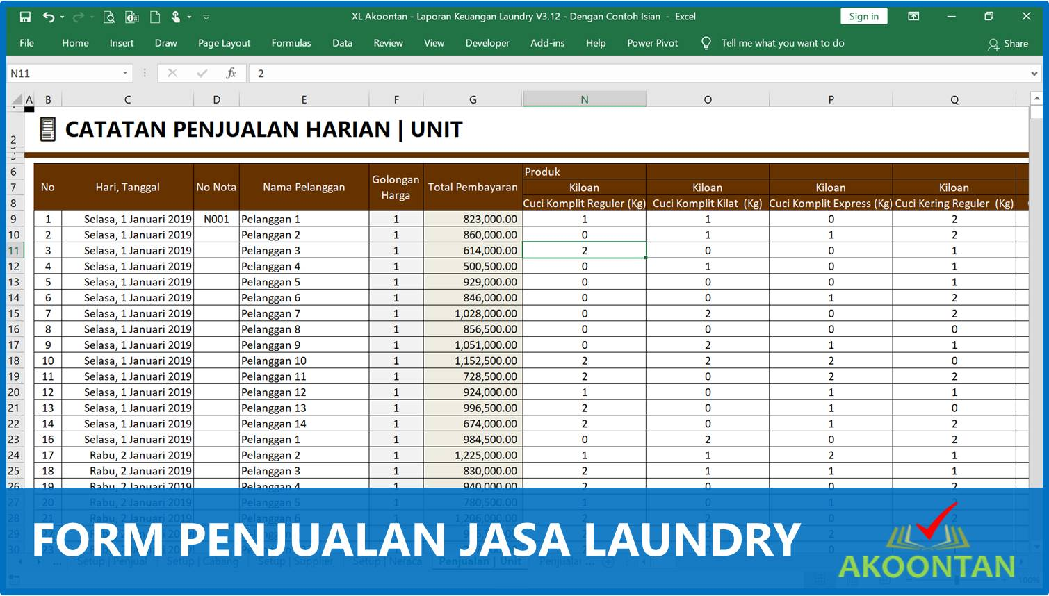 Akuntansi-ID - Form Penjualan Laundry