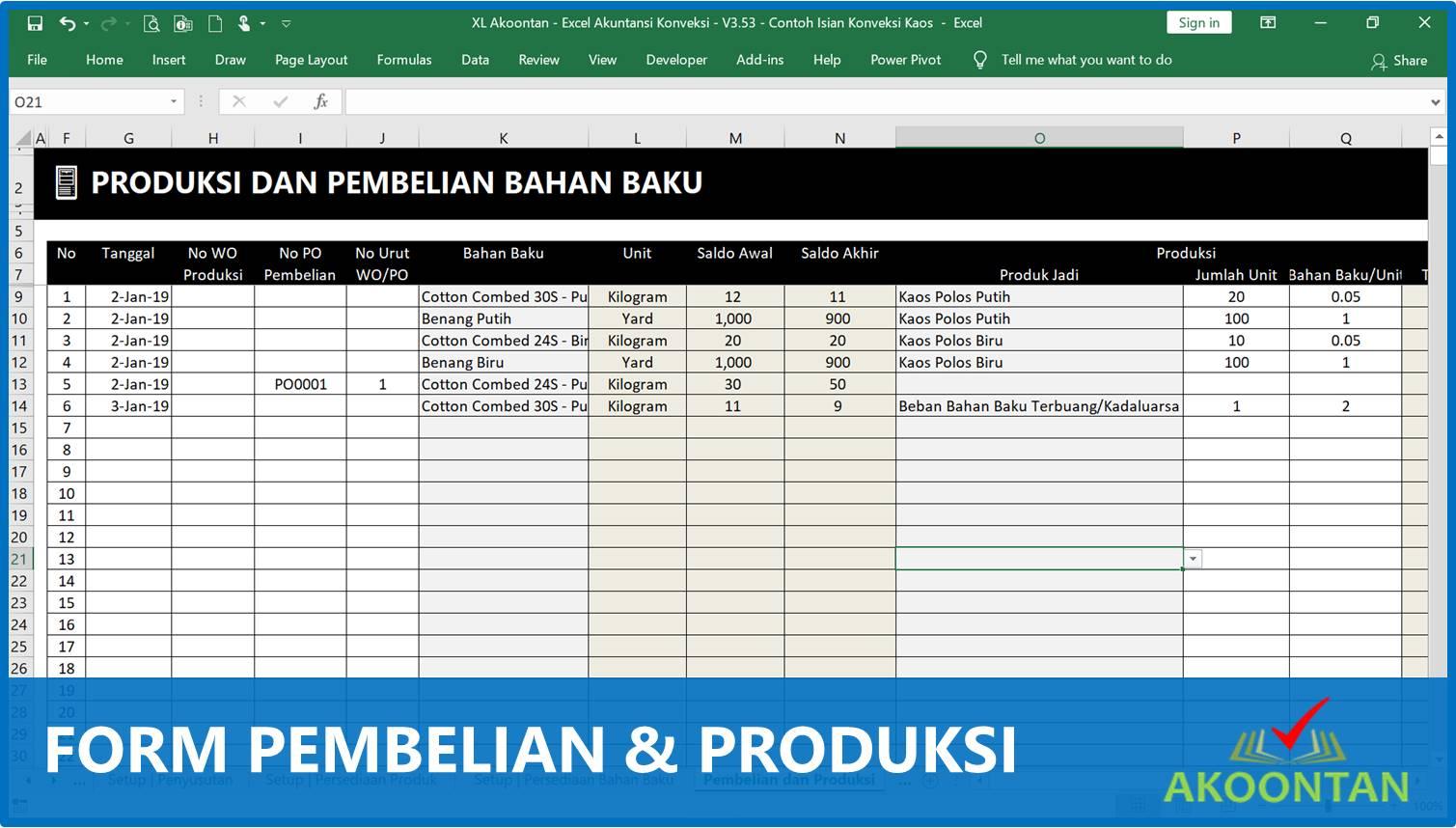Contoh Form Pembelian dan Produksi Konveksi - Akuntansi-ID