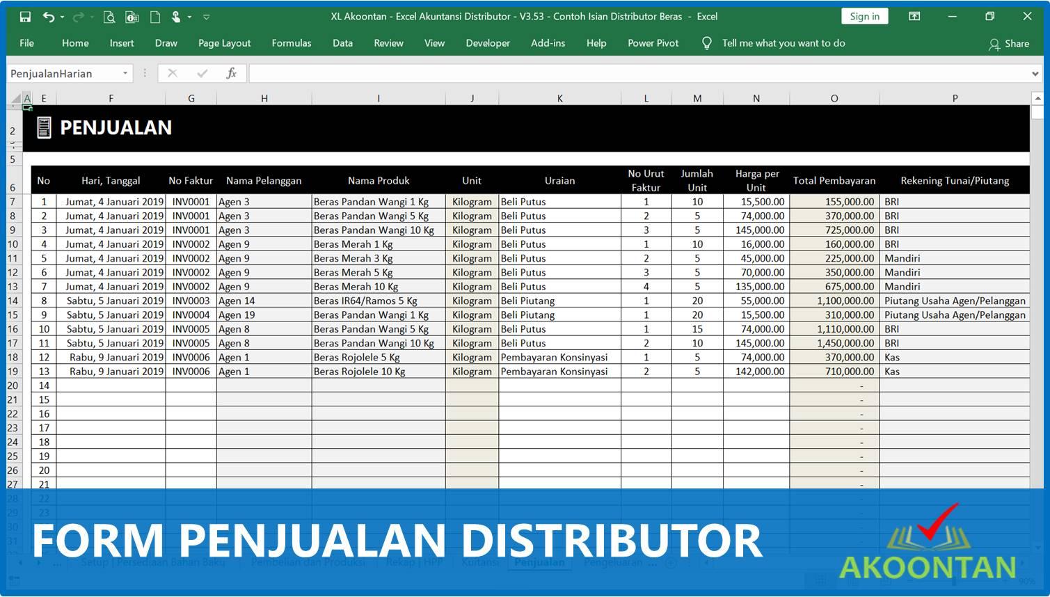Form Penjualan Distributor - Akuntansi-ID