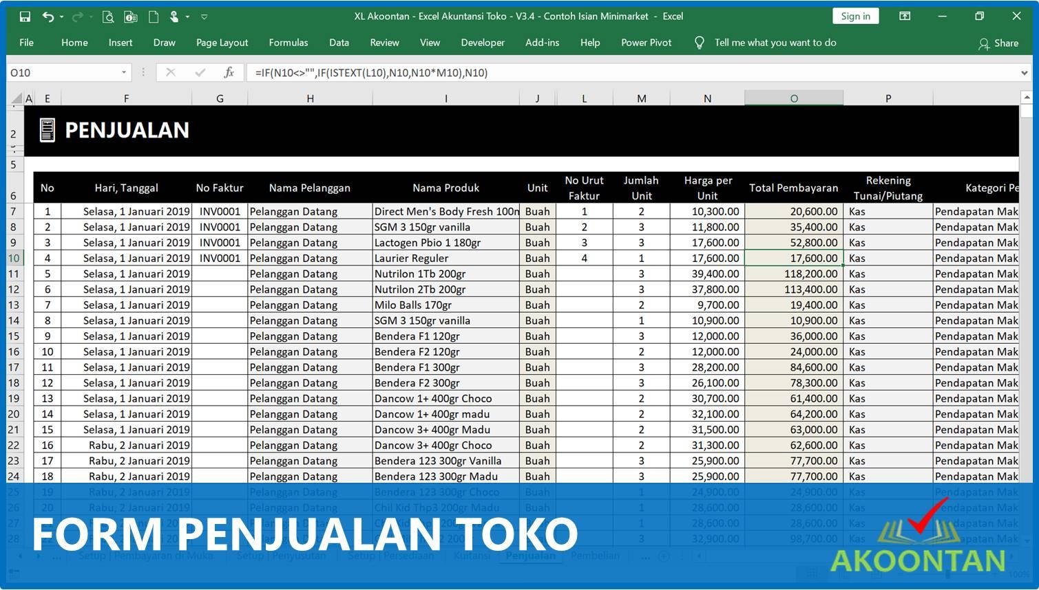 Form Penjualan Toko - Akuntansi-ID