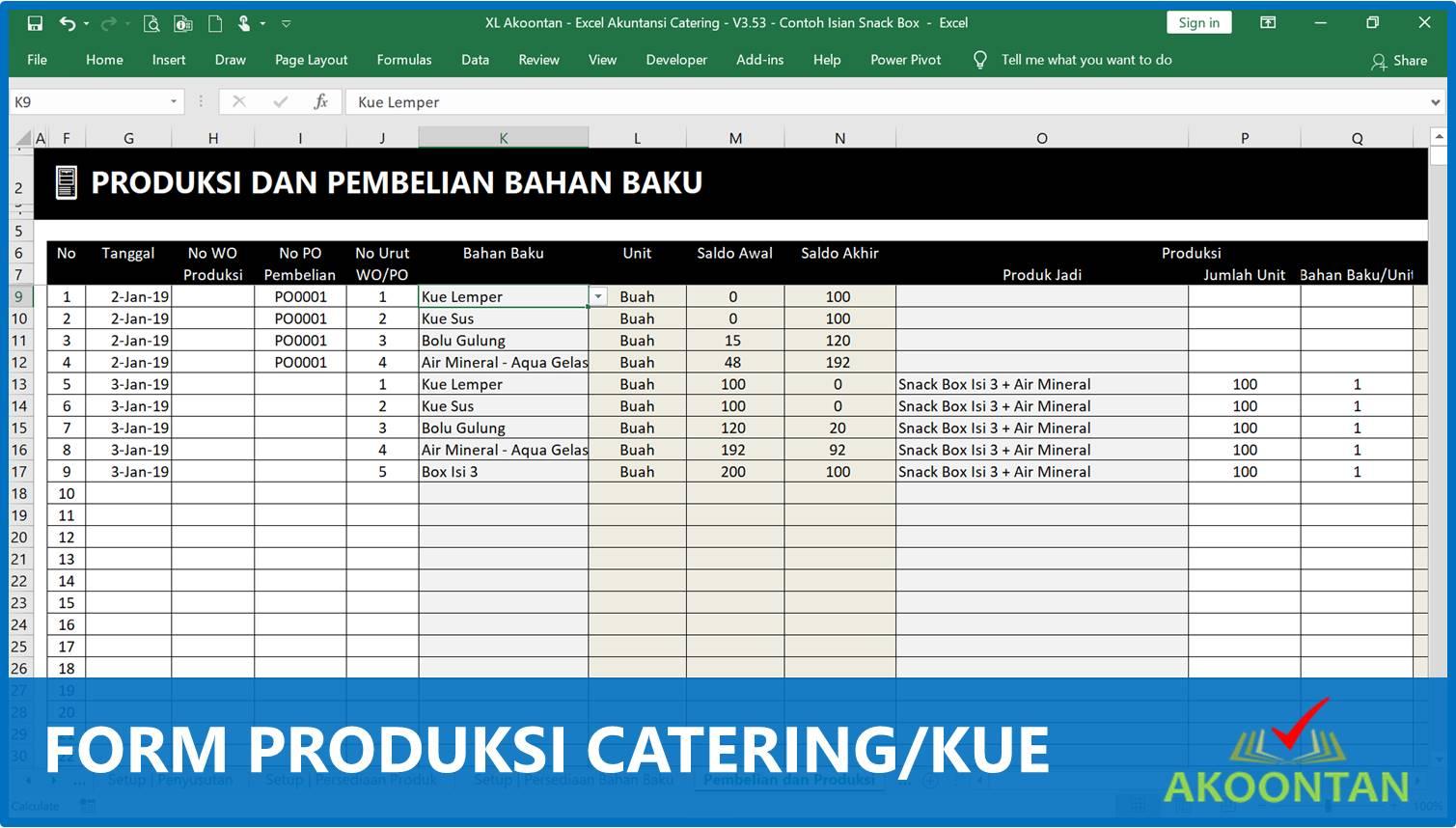 Form Produksi Usaha Catering - Akuntansi-ID