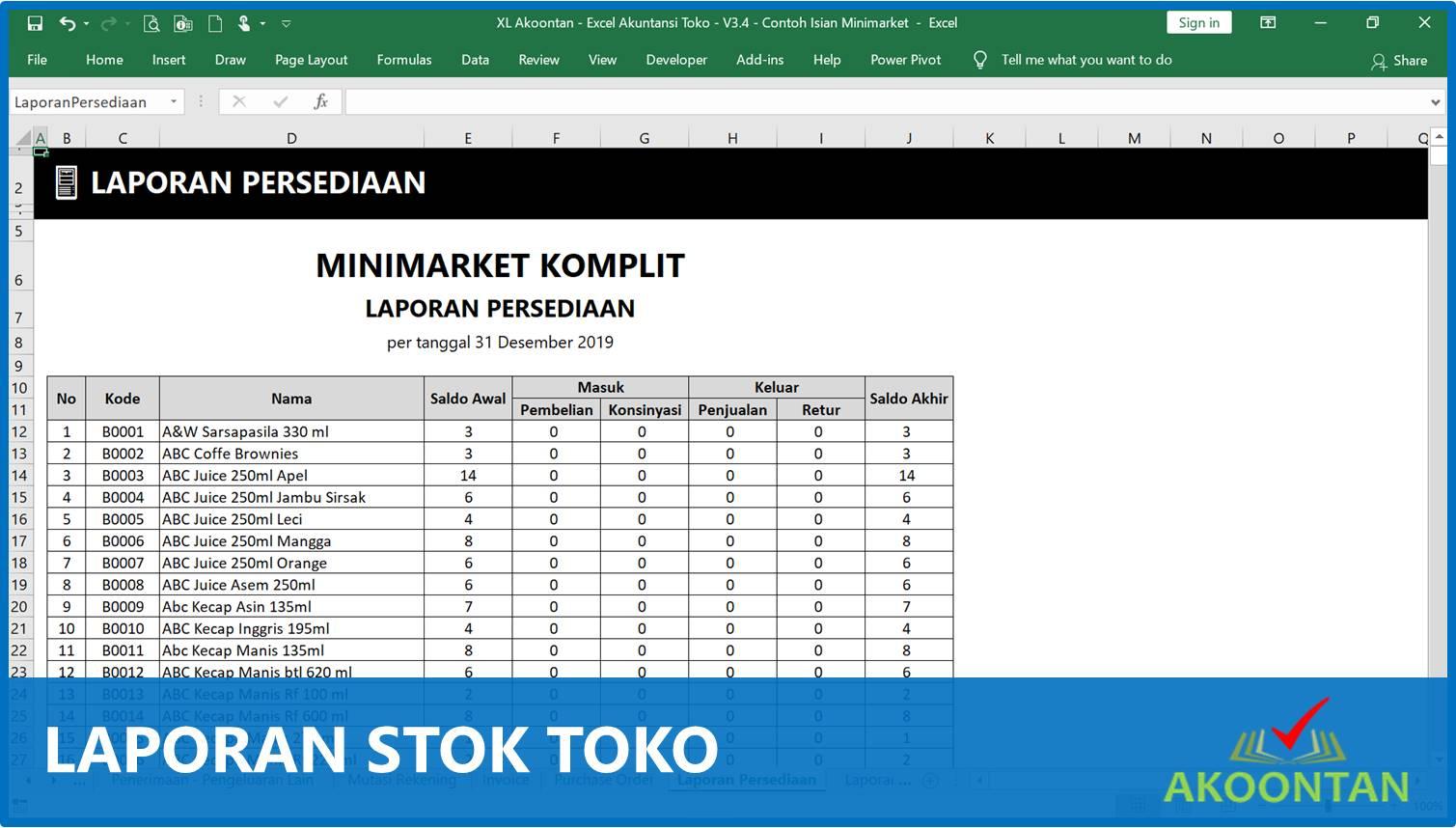 Laporan Stok Toko Minimarket - Akuntansi-ID